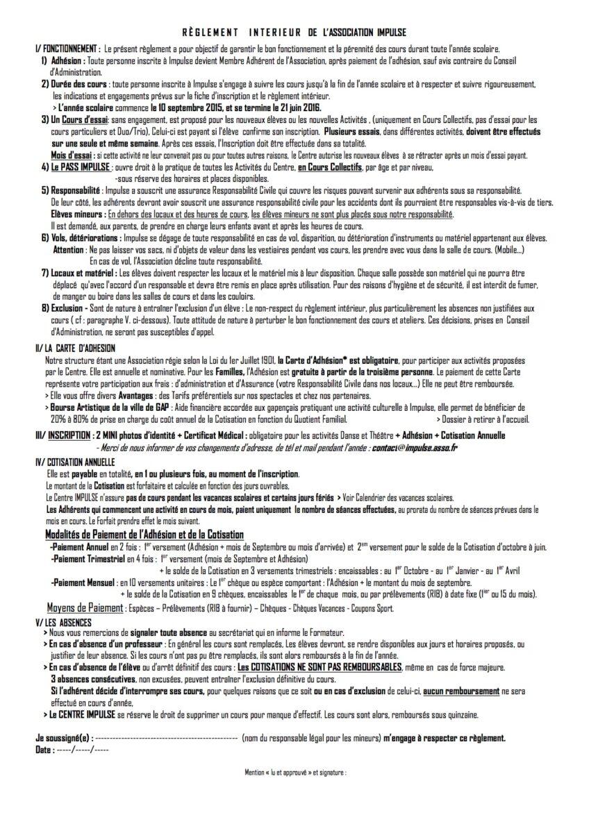 R glement int rieur centre artistique impulse for Reglement interieur association sportive