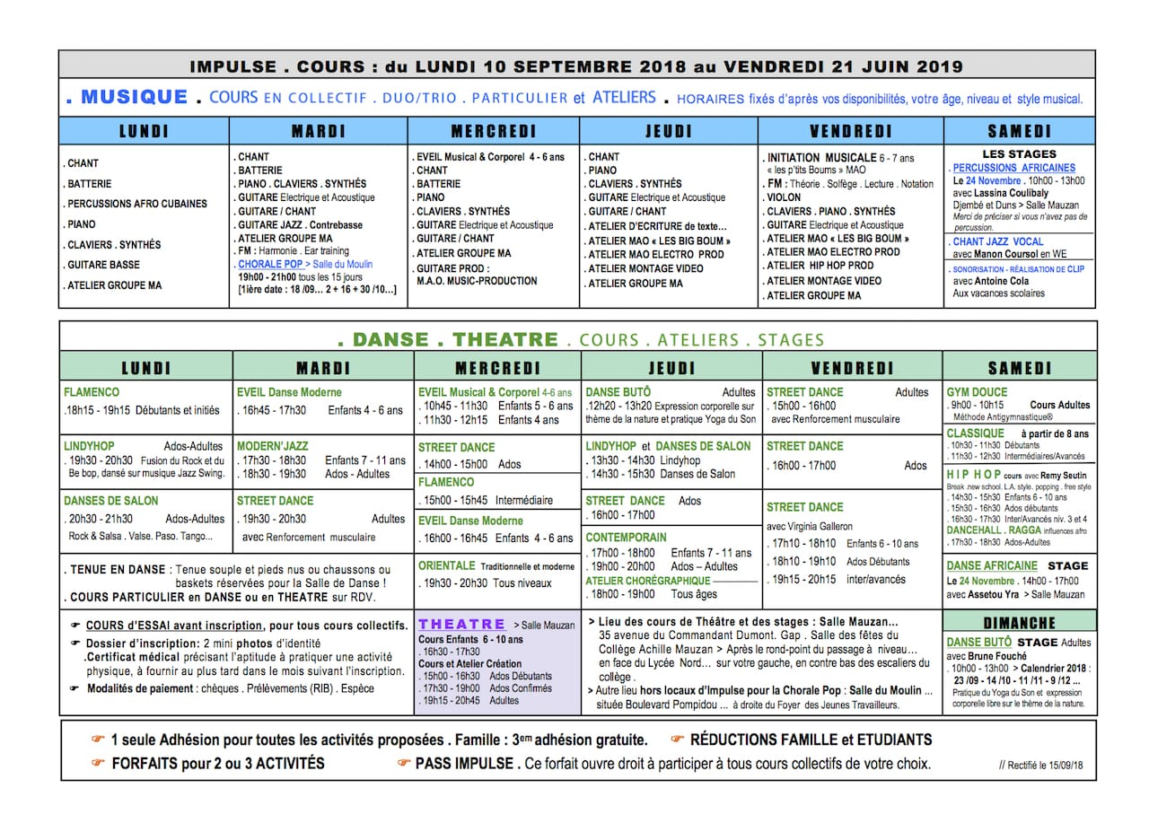 IMPULSE Planning des cours 2018-2019 v6
