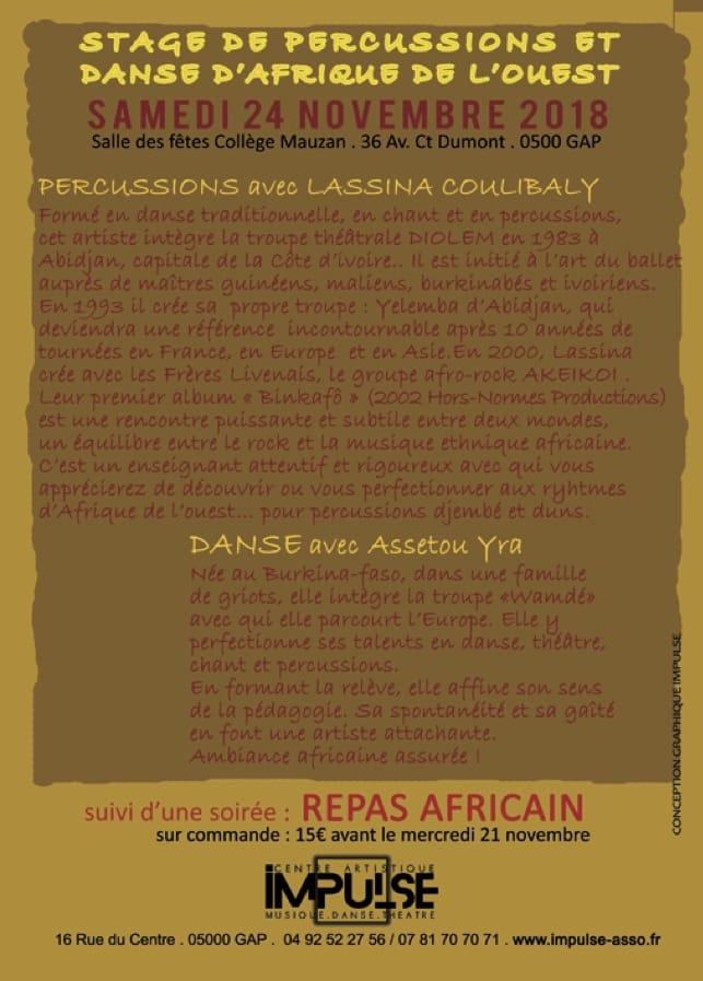 Stage Percus et danse Africaines IMPULSE 24:11:2018 verso