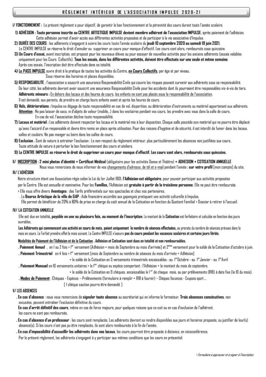 Impulse Règlement Intérieur 2020-21